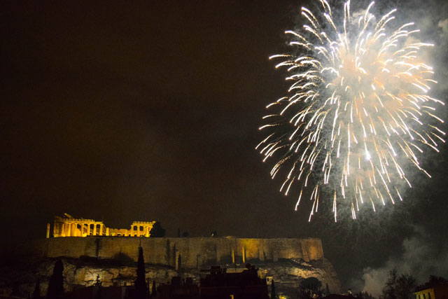 Athens in winter New Years fireworks over the acropolis