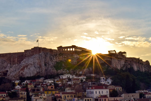 Athens in winter sunset over the Acropolis