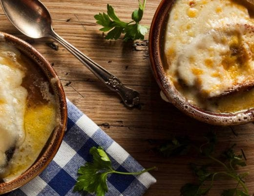 Vegetarian in Paris with French onion soup