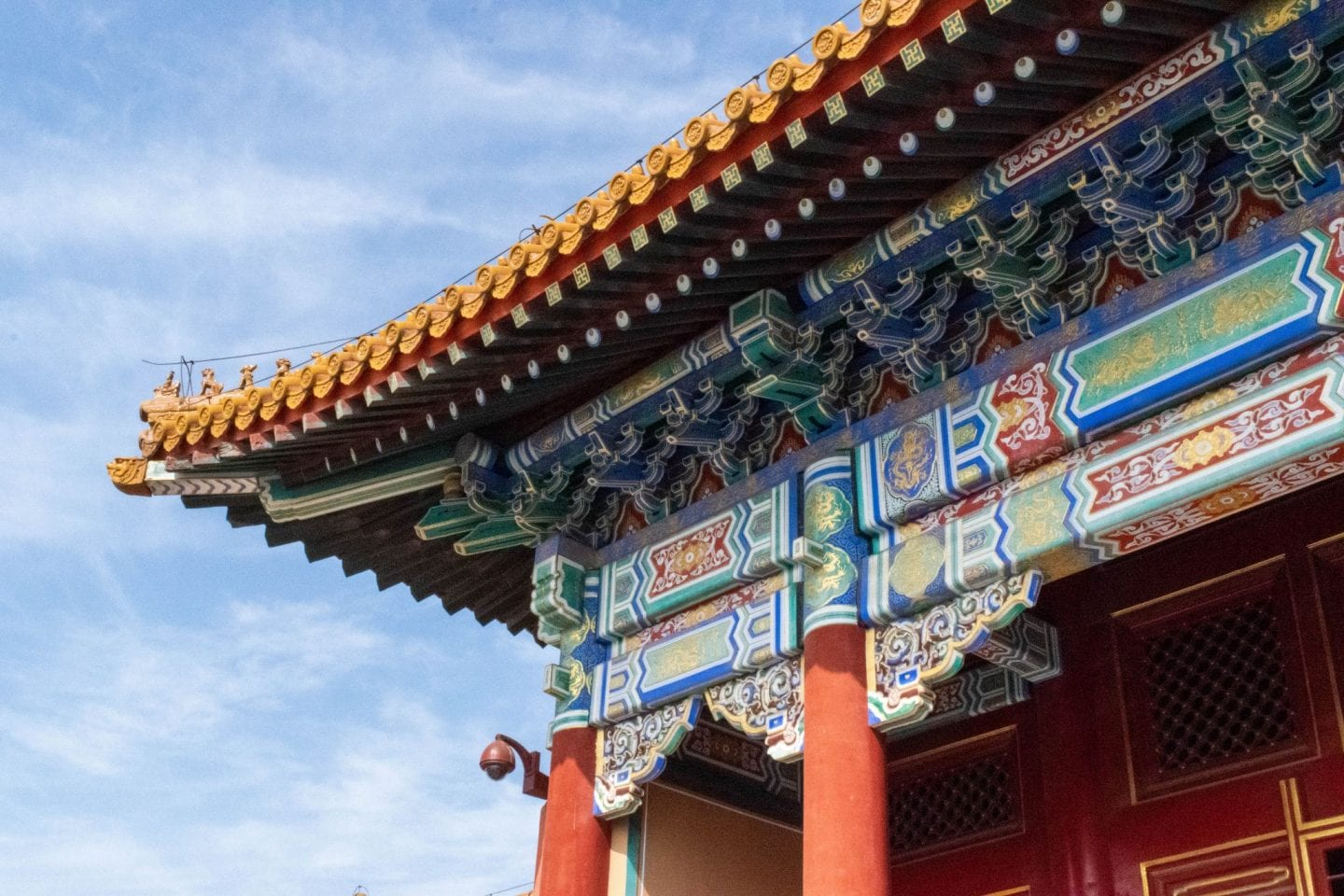 Close up photo of the Forbidden Palace in Beijing with blue skies