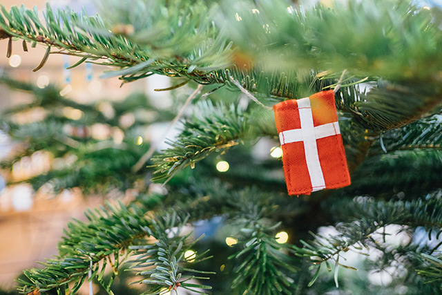 Danish flag decoration on Christmas tree