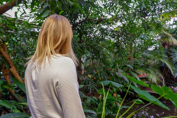 Woman wearing Craghoppers Nosilife Erin top in the rainforest