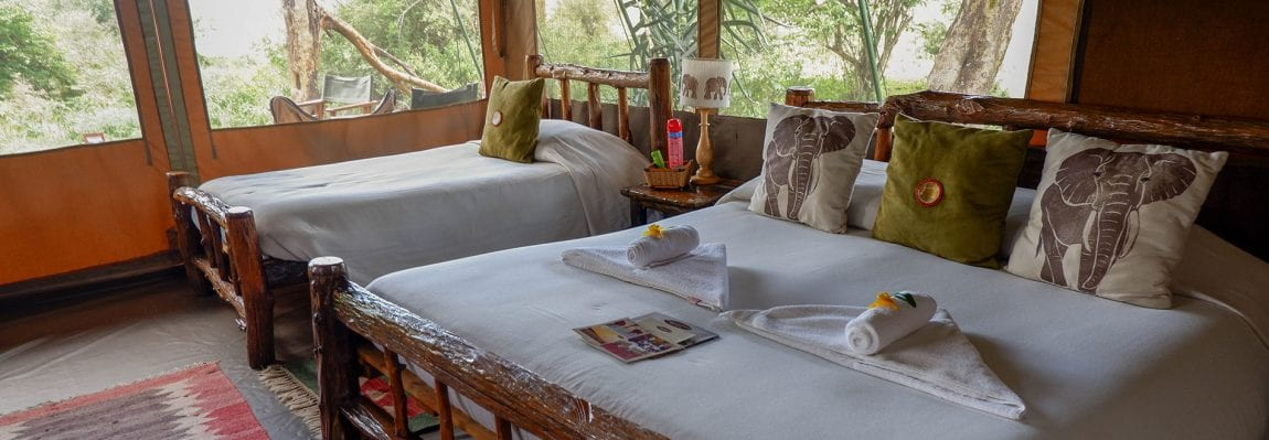 Would Be Traveller Best Safari Lodges in Kenya safari tent with beds and towels