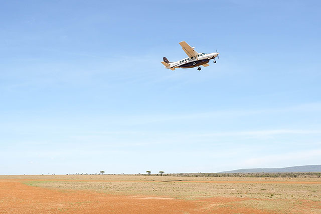 Safarilink plane taking off in Kenya