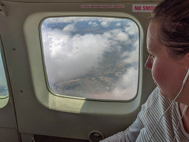 Looking out of the window in a Safarilink plane