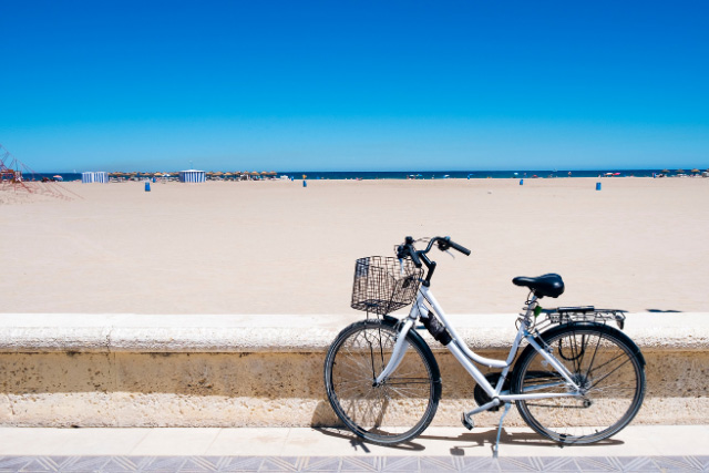 Las Arenas beach in Valencia with bike