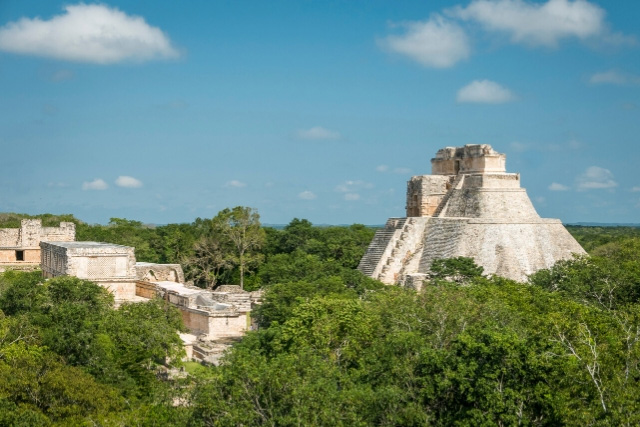 View of the Pyramid of the Magician in Uxmal